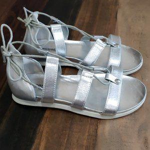 Michael Kors Ghillie Metallic Silver Sandals